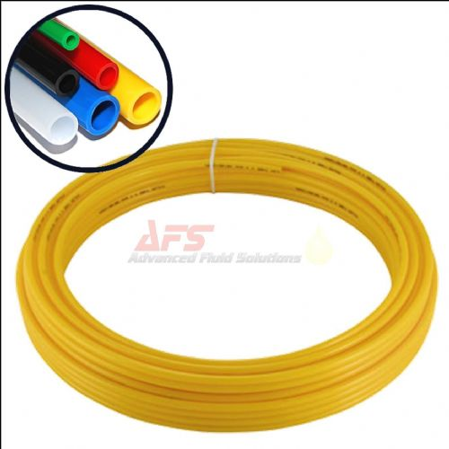 30 Mtr Coil - 3/8 Inch O.D x 0.250 I.D Imperial YELLOW Flexible Nylon Tubing